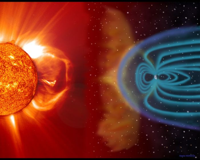 Artist rendition of a CME, Earth is larger than actual scale